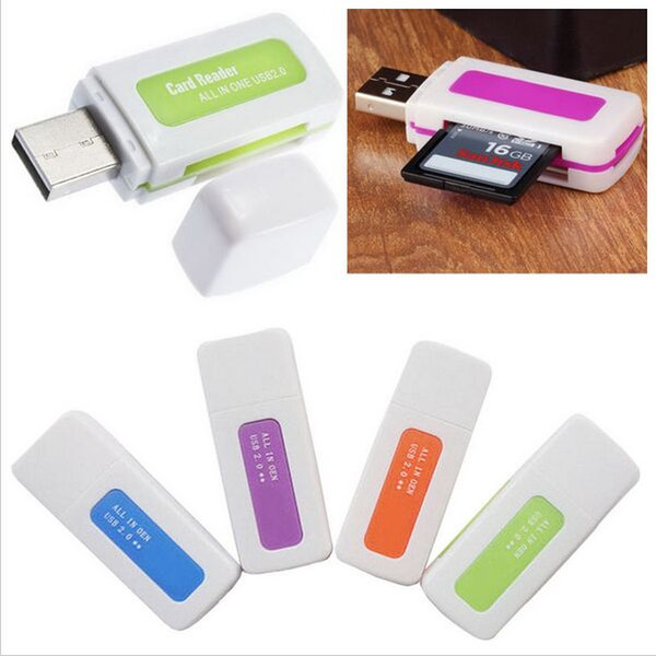 best selling JADEITE JADE USB 2.0 4 in 1 Memory Multi Card Reader for M2 SD SDHC DV Micro SD TF Card USB specifictaion Ver2.0 480Mbps