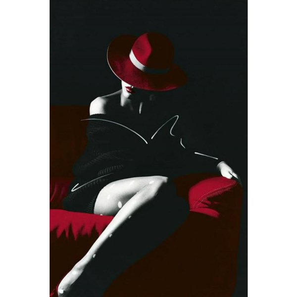 Figure oil paintings for living room wall black woman in red hat hand-painted Canvas art