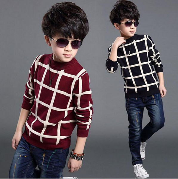 best selling 2019 Autumn Winter England Style Classic plaid sweate Kids boy Plaid Sweater Coat Children Clothing Baby jacquard Cotton Boys Pullover 5-10Y