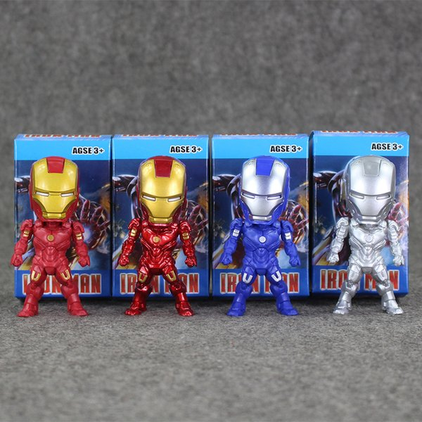 9cm 4pcs/set Super Hero Iron Man Q version PVC Action Figure Collectable Model toy for kids Christmas gift free shipping retail