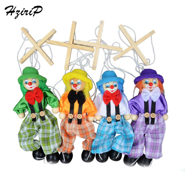top popular 4 Pcs set 25CM Kids Classic Funny Wooden Clown Pull String Puppet Vintage Joint Activity Doll Toys Children Cute Marionette 2021