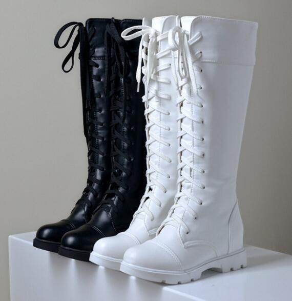 Spitze Schuhe Weiß Front Von Huaheweuin44 Winter Neue Großhandel Hee Schwarz Auf Stiefel Mitte 23 Gaotong Martin Herbst Cos Frauen j534ARL
