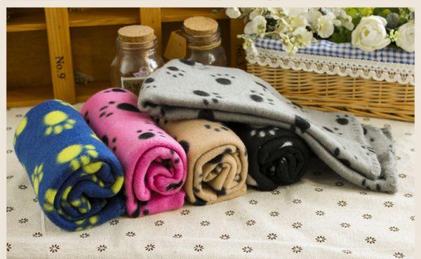 DHL Warm pet mat large paw print pet cat fleece soft blanket bed mat