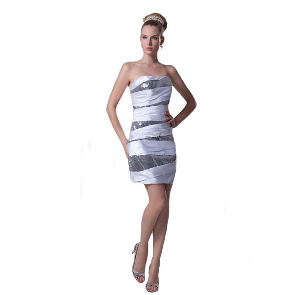 Latest Fashion Sheath Design Strapless Party Dress Sequined Above Knee Length Wholesale Price Summer Collection Ladies Wear