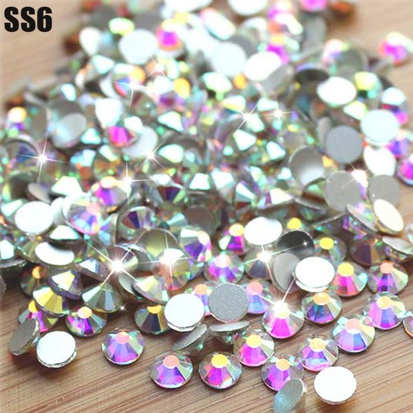Vente en gros - Super brillant SS6 (1.9-2.1mm) 1440pcs / Sac Clear Crystal AB couleur 3D Non HotFix FlatBack Nail Art Décorations Flatback Strass