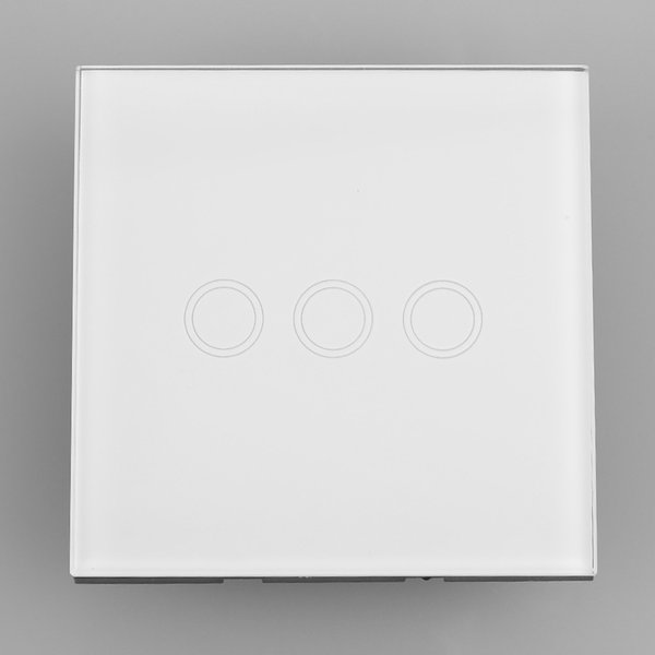 2016 Hot Smart Home White Crystal Glass Panel 3 Gang UK Plug Light Touch And Remote Control Screen Switch With LED indicator Hot