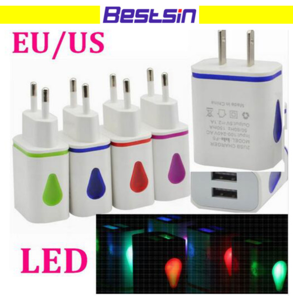 New products double 1A 2.1A flashing USB plug light charger colorful adapter for all smart phone Free Shipping