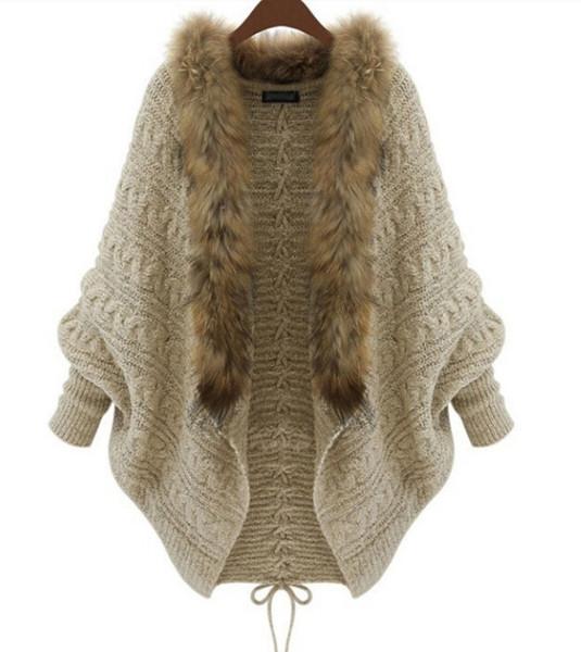 De gran tamaño de las mujeres vendedoras calientes de la moda de las rebecas gruesas de piel sintética Batwing manga larga abrigo de invierno cálido con cordones de punto capa