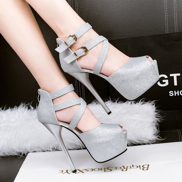 2017 Summer grind arenaceous high heel sandals waterproof fish mouth black hollow out cingulate cross strap platform stiletto shoes 266-8