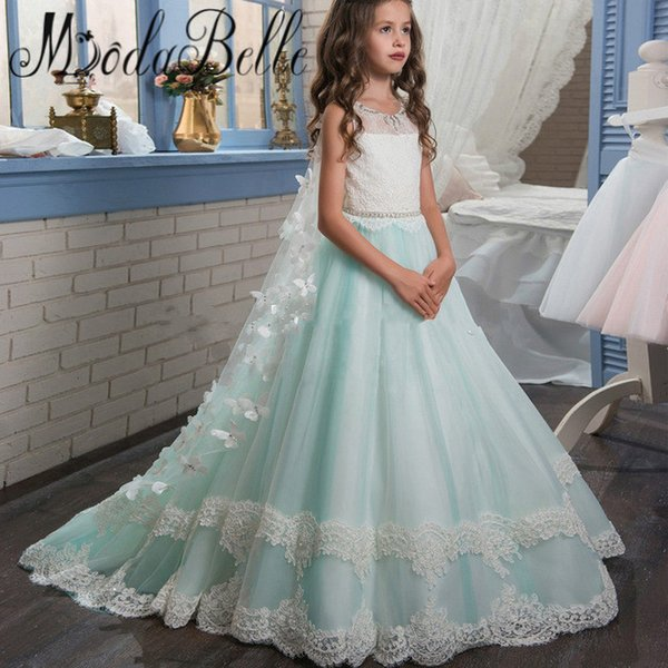 2017 New Lace 3D Applique Jewel Sleeveless Flower Girl Dress With Wraps Baby Kids Birthday Party Dresses For Little Girls Prom Pageant Gowns