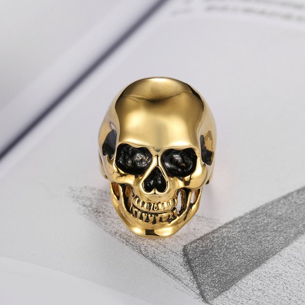 Free Shipping! Punk 316L Stainless Steel Gold Plated High Polish Oil Push Skull Skeleton Ring Jewelry