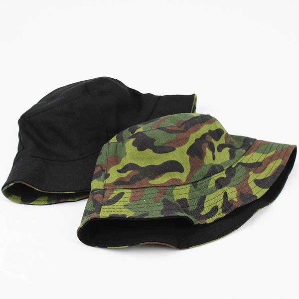 Unisex Adult Flat Reversible Bucket Hats Camouflage Fisherman Caps Outdoors Sun Protective Beach Hat Free Shipping