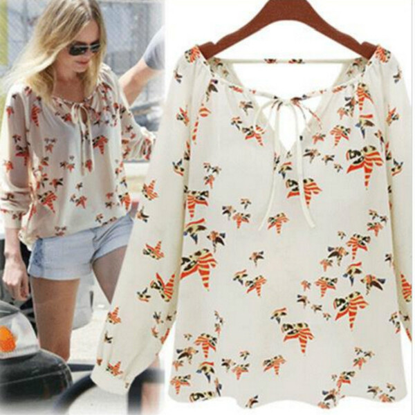 New Blusas Femininas Long-Sleeved Chiffon Blouse Women Chiffon Shirt Printing Color Dove Women Tops And Blouses