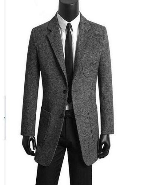 Korean men 's clothing young casual suits men trench coat woolen coats mens overcoat abrigos de hombre grey plus size S - 9XL