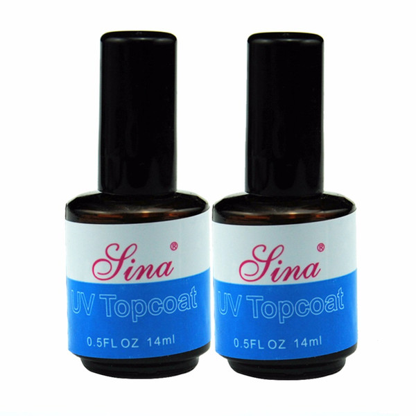 Wholesale- 2016 Hot 2PCS UV Topcoat Top Coat Seal Glue Acrylic Nail Art UV Gel Polish Gloss Finish Top Coat Gel Long Lasting Nail Tips