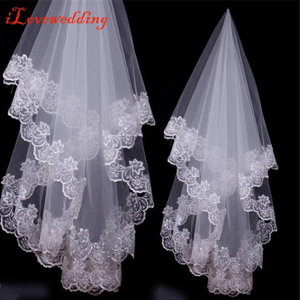 best selling Free Shipping White Ivory Lace Applique Edge One Layer 1.5 M Long Wedding Veil Bridal Veil Bridal Accessories Cheap
