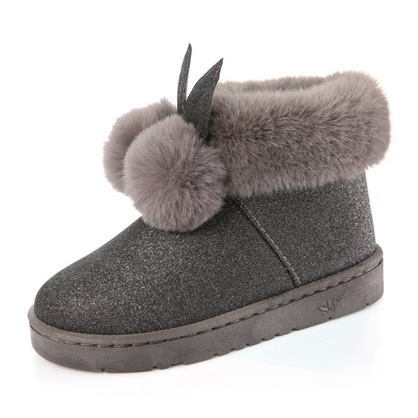 Winter New Women's boots female Venonat rabbit ear lovely boots waterproof and velvet with thick warm cotton shoes