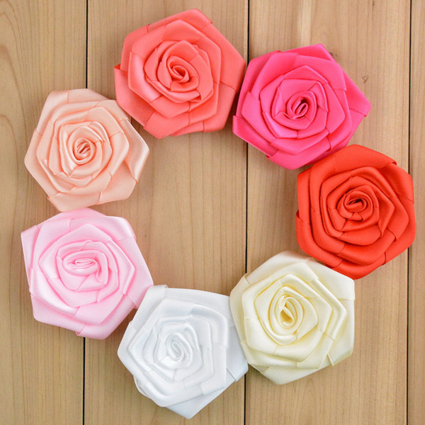 free shipping 30pcs/lot Multilayer Satin Rosettes Without Clip Shabby Frayed Rose Flowers Baby Girls Hair Accessories 6CM 29colors H085