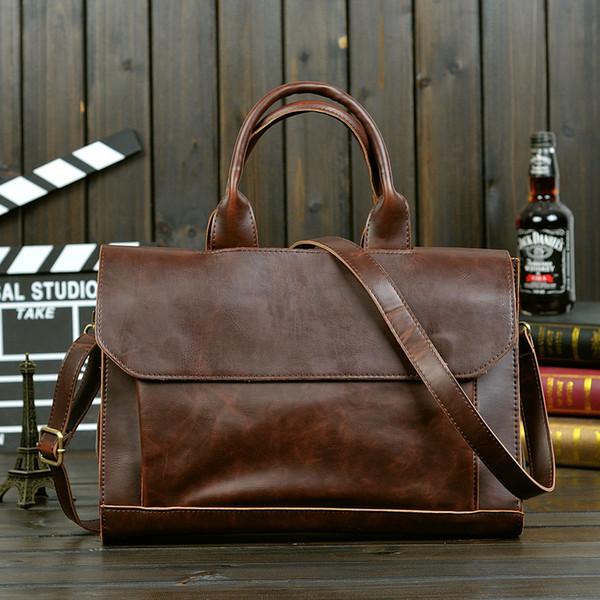 Wholesale- Vintage Men Business Real Genuine Leather Briefcase Travel Causal Messenger Shoulder Portfolio Laptop Bags Lawer Handbag Bolsa