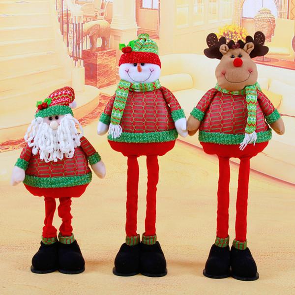 Dibujos animados 70Cm Navidad - Muñeco de nieve telescópico dimensional / Santa Claus / David 'S Deer Muñecas navideñas Regalo Decoraciones navideñas