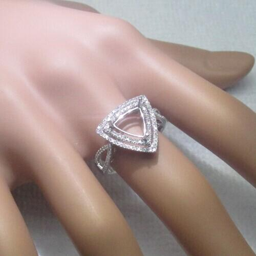 Free Shipping Jewelry Trillion Cut 8x8mm Solid 14k White Gold Engagement Semi Mount Diamond Very Nice Ring(R0139)