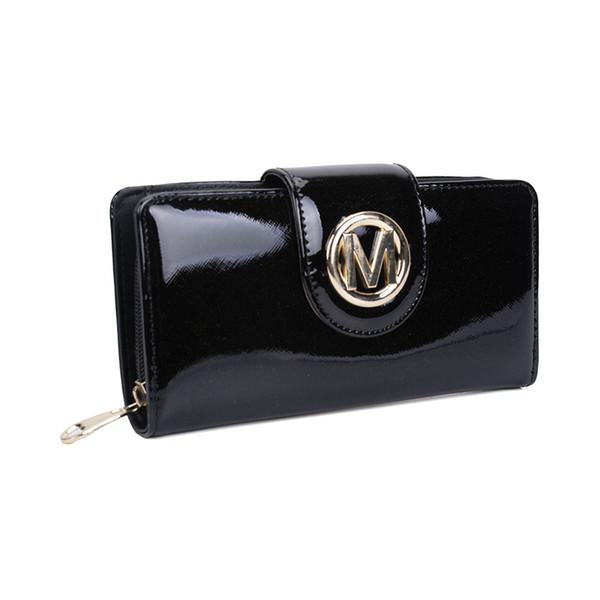 Dame Brieftaschen Halter Clutch Bag Plain Lässig Lang und Kurz Hasp Lackleder Kreditkartenpaket Multi-bit Mode Frauen Geldbörse VKP1441-2