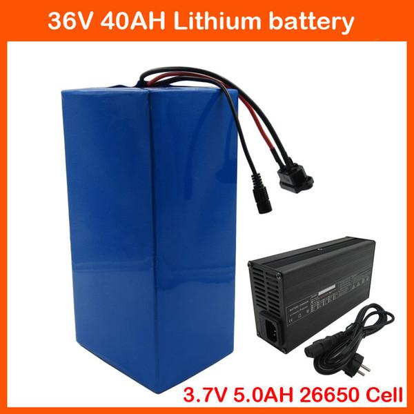 Tassa doganale gratuita 36V 40AH Batteria al litio 1500W 36V 10S Batteria Ebike Uso 3.7V 5.0AH 26650 celle Con caricabatterie 50A BMS 42V 3A