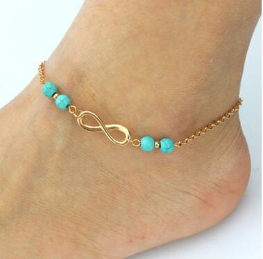 New Ankle Bells Summer Style Turquoise Beads Chain Foot Double Zipper Anklet 925 Women Silver Bracelet On A Leg Diamond Jewelry MOQ 30 pcs