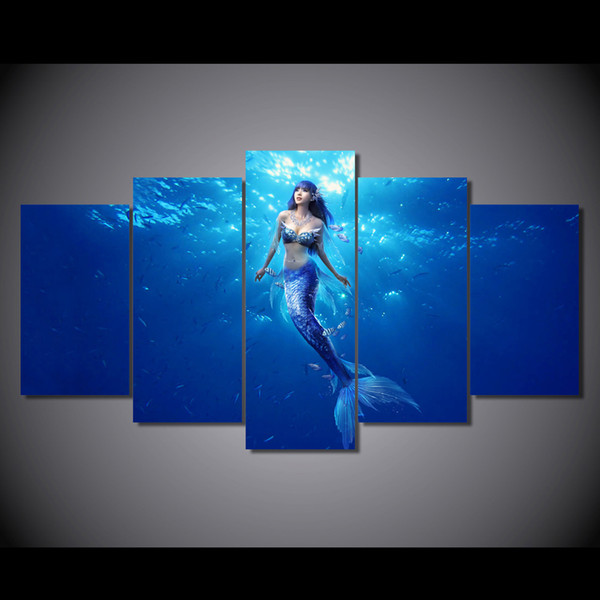 5 Pcs/Set Framed HD Printed Deep sea mermaid picture Painting wall art room decor print poster picture canvas Free shipping/ny-6400