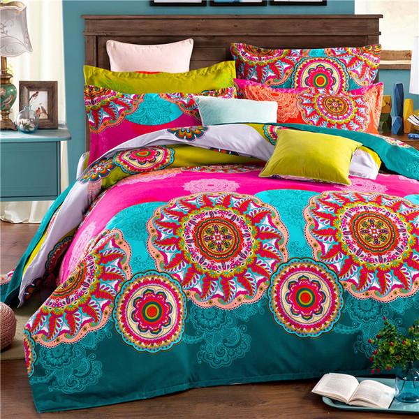 Atacado-Bohemia boho 100% poliéster 4PCS jogo de cama capa de edredon folha plana e 2 fronhas roupa de cama