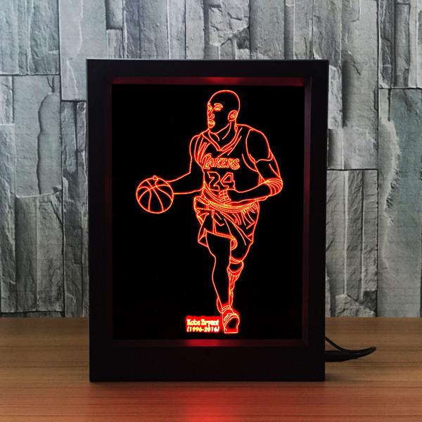 3D Kobe LED Photo Frame IR Remote 7 RGB Lights Battery or DC 5V Factory Wholesale Dropship Free Shipping