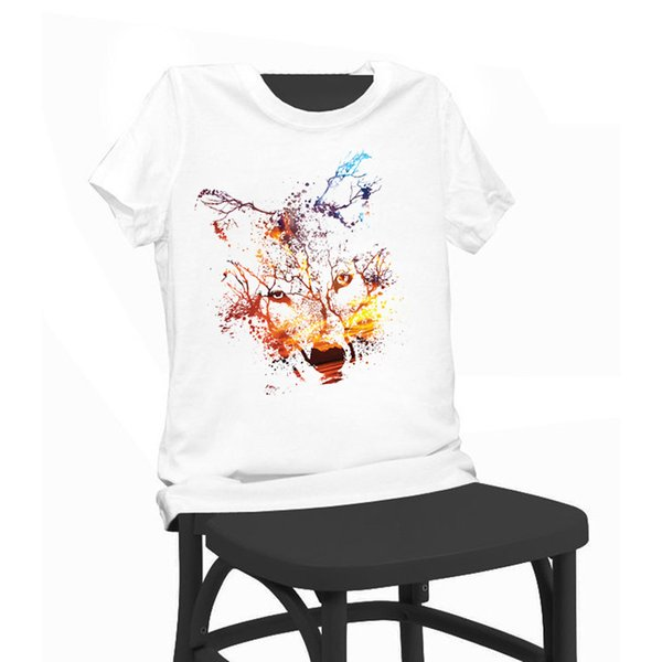 Wolf Colourful Coasters Print T-shirt Funny T Shirts Short Sleeve Tee Shirt Tops Clothes Women's Summer T-Shirt For Women Lady Girl