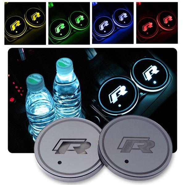 2pcs / set Coaster Auto LED multicolore R Cup per Volkswagen VW Golf GTI Scirocco passat B6 Touran Tiguan Jetta MK4 MK5 MK6 POLO CC