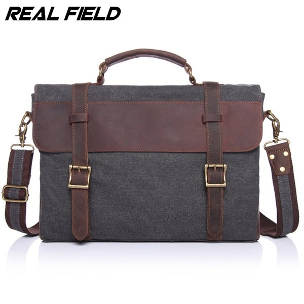 Wholesale- Real Field RF Men Business Messenger Bag Canvas Briefcase Retro Computer Vintage Document Crossbody Casual A4 Files Handbags 145