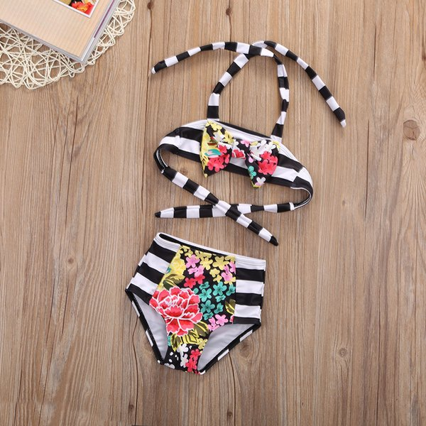 best selling Summer Fashion Baby Girl Bikini Black and Withe Strips Colorful Flower Pattern Swimming Suit
