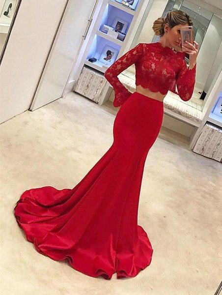 2019 Elegant High Neck Women Prom Dresses Sexy Mermaid Red Two Pieces Satin Sweep Train Evening Dresses Formal Long Sleeves Party Dresses