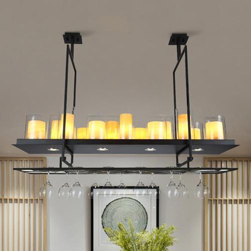 American candelabro rectangular llevó la lámpara de vino boca abajo colgante llevó la lámpara de ingeniería de luz para sala de estar restaurante hotel bar