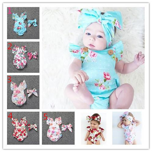 Säuglingsbaby-Blumenspielanzug Bodysuit mit Stirnbändern Rüschenärmel 2pcs stellte Knöpfe 2017 Sommer Ins Schriftsätze 0-2years ein