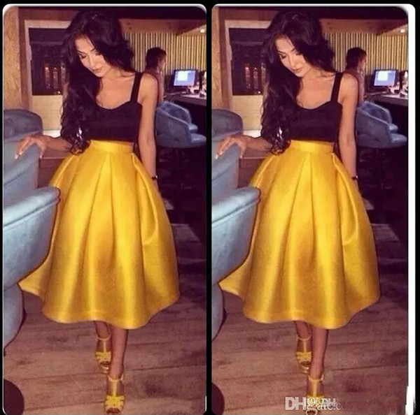 2017 Modest Two Pieces Tea Length Cocktail Party Dresses Sexy Straps Sleeveless Gold Skirts Formal Prom Gowns Homecoming Dress Vestidos