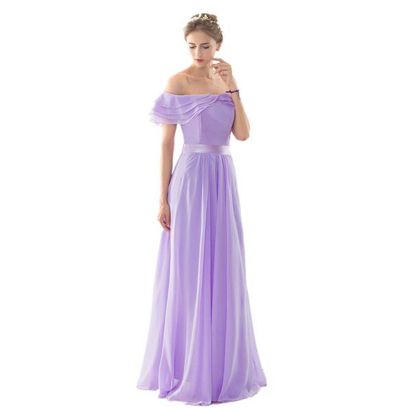 Off Shoulder bridesmaid dresses robe de soiree 2017 Draped Chiffon Prom Wedding Guest Dresses Cheap Chiffon bridesmaid dress Long