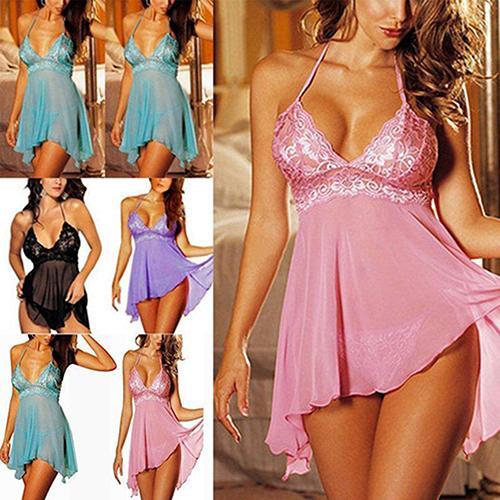 Wholesale- Women Sexy Lace Flower See Through Halter Solid Color Sleepwear Honeymoon Dress
