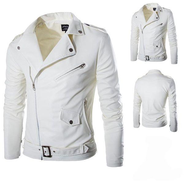 Men Fashion PU Leather Jacket Spring Autumn New British Style Men Leather Jacket Motorcycle Jacket Male Coat Black White M-3XL
