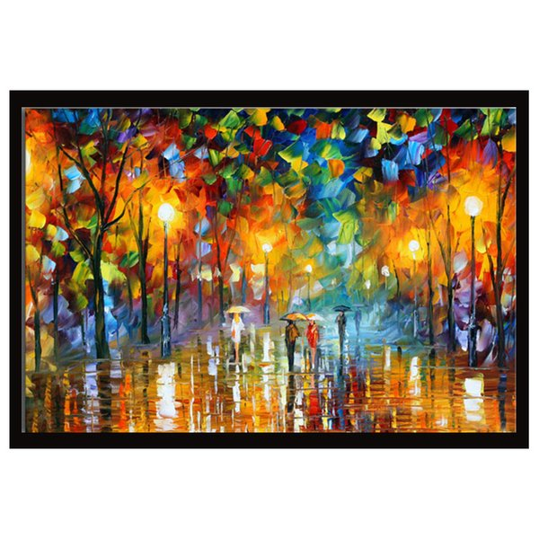 2019 Kg Canvas Art People Walking In Raining Knife Oil Painting Acrylic Artwork Modern Wall Decor For Home Kitchen From Kgshop2016 40 71