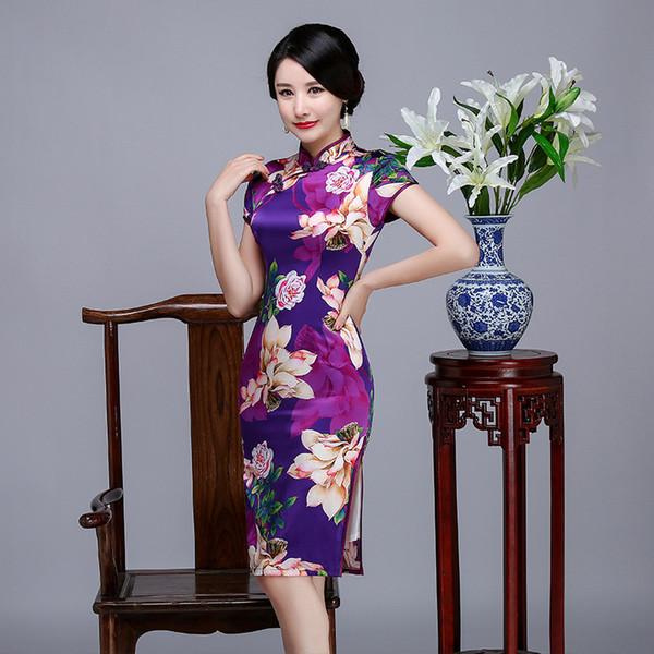 2019 nuovo elegante tradizionale di alta qualità plus size manica corta in vera seta fiori stampati viola cheongsam daliy abito cinese qipao