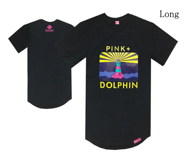 PINK DOLPHIN sail t shirt long extend black tee shirts crew neck hip hop rock rap t-shirt summer clothing short sleeved