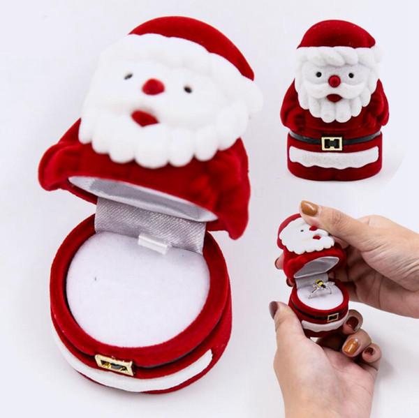 Caja de Joyas de Papá Noel Anillo de Navidad Pendiente Collar Titular de la Caja Colgante Caja de Exhibición Caja de Almacenamiento Organizador Regalos de Navidad OOA3298