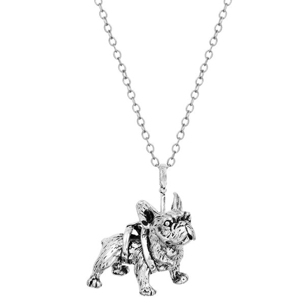 Wholesale-ONE PIECE Realistic French Bulldog Miniature Animal Shaped Pendant Necklace in Bronze Silver Boho Bijoux For Men Women