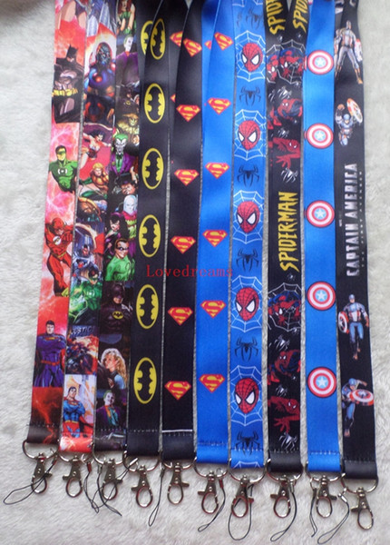 Free Shipping 20 pcs Cartoon Superman Super hero Neck Lanyard key chain Mobile cell phone neck straps charms