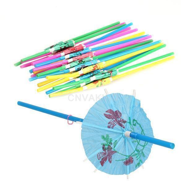 Wholesale Plastic Straw Cocktail Parasols Umbrellas Drinks Picks Wedding Event Party Supplies Cocktail Decorations #RZX37