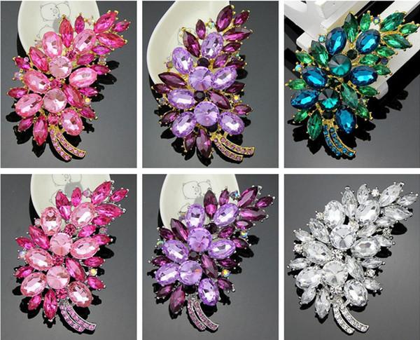 Clips de flores de cristal de lujo broche de la hoja Pin Rhinestone de la boda de la boda pernos nupciales Broches partido de moda ramillete Breastpins regalo del baile de fin de curso
